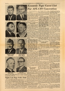 1961 AFL-CIO News with Eleanor Roosevelt as convention speaker