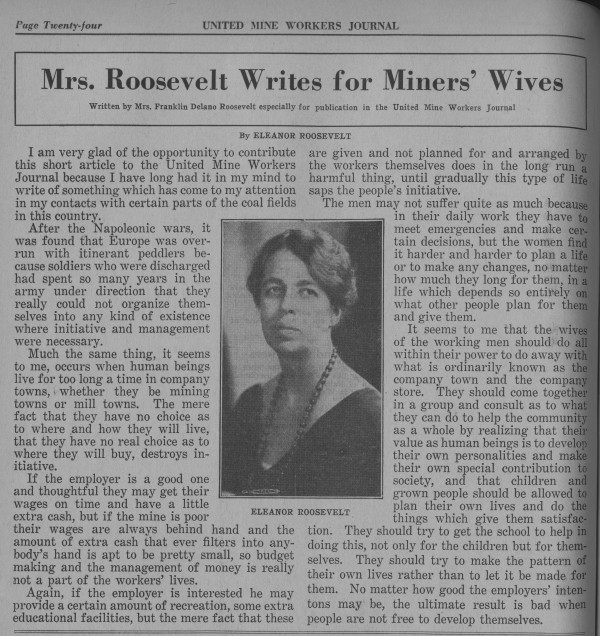 1936, Miners' Wives. Unite Mine Workers Journal: courtesy of Historical Collections and Labor Archives, Special Collections Library, The Pennsylvania State University.