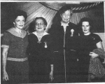1954, CIO Wives. ER with M. Reuther (UAW), B. Hillman (ACWA), M. Carey (IUE). UNITE HERE Archives, Kheel Center, Cornell University.