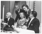 1959, National Farm Labor Advisory Committee meeting. ER with (left to right) F. Graham, president, University of North Carolina; A. P. Randolph, president, Brotherhood of Sleeping Car Porters; former congresswoman H. G. Douglas; Secretary of Labor J. P. Mitchell. Nate Fine photographer; Franklin D. Roosevelt Presidential Library and Museum.